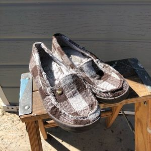 Roxy piccolo plaid fur lined shoes